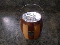A cambridge ware wooden biscuit barrel/ ice bucket.