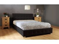 Designer black Fabric Ottoman Lift up Storage Bed new King Size