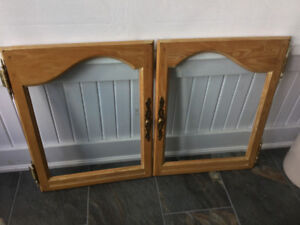Solid oak cabinet doors with beveled glass