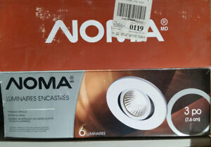 Noma Recessed Pot Light, White, 6 pack