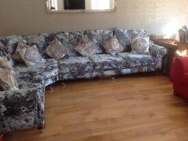 Corner sofa. Bespoke, crushed velvet.