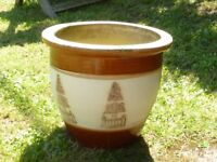 Nice Cream & Brown Ceramic Planter With Tree Detail Decoration 22cm Tall