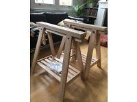 IKEA trestle table legs with shelf FINNVARD x 2