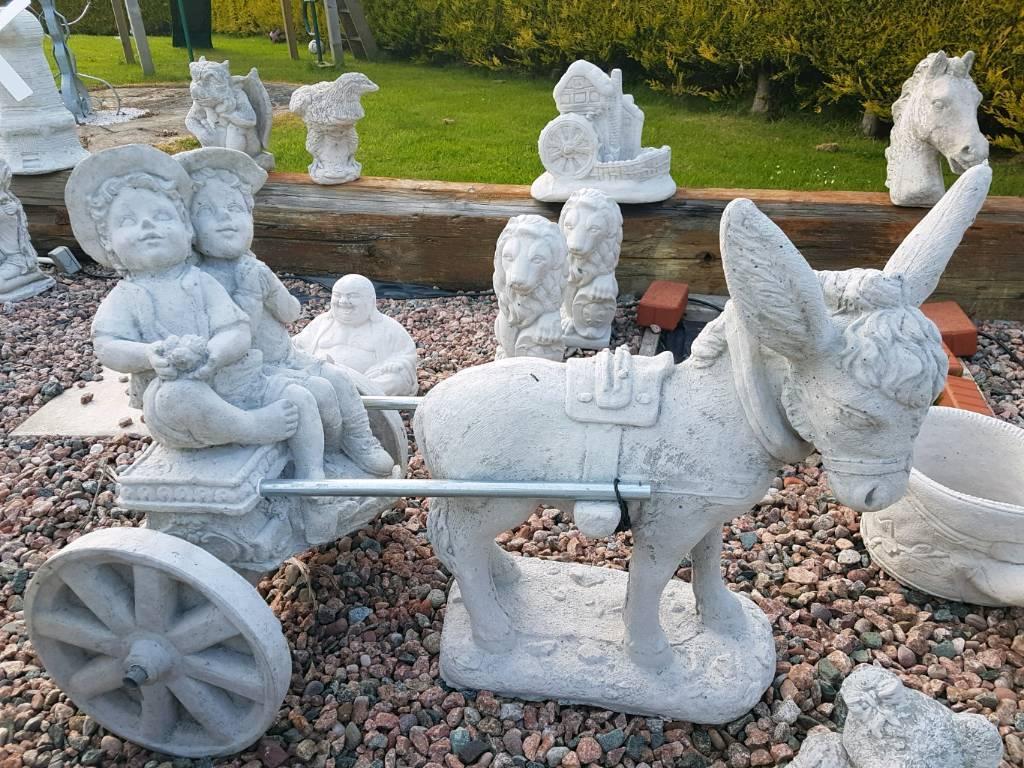 Concrete Donkey And Cart Boy Girl Garden Ornament In Saintfield