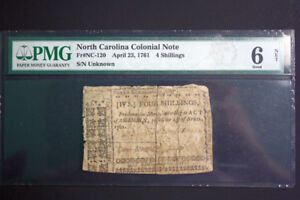 Colonial 4 Shillings Bank Note From 1761