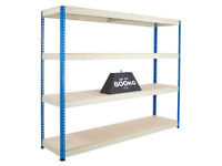 4 Shelf Boltless Racking Shelving 200cm x 184cm x 46cm Heavy Duty 800Kg UDL