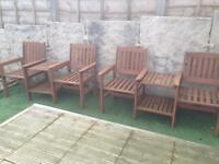 Outdoor wooden Jack & Jill chairs