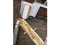 Free timber, door hingers, palette, mdf (melamine)