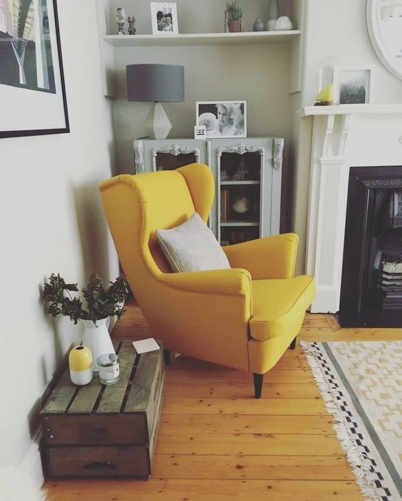 Yellow Mustard Vintage Inspired Armchair Wing Back Chair