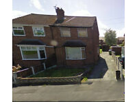 Hazel Grove, 2 bedsemi on quiet street near hospital, schools and shops. Available end July
