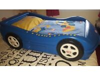 Little Tikes Blue Car Bed + Next digger curtains, lampshade, bedding and rug