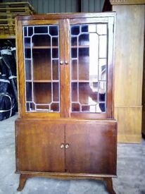 Vintage four Door Display/storage Cabinet 2 x Leaded Glass Doors, FREE DELIVERY