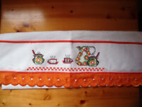 ** NEW ** Cross stitch detailed white tea towel with orange lace detail from Brazil