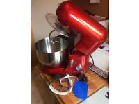 Andrew James Electric Food Stand Mixer in red including splash guard 2.5L bowl and silicone spatula