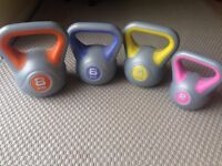 Kettle Bell Weights Set-8kg, 6kg, 4kg, 2kg-bought new and unused-cost £27.99 new