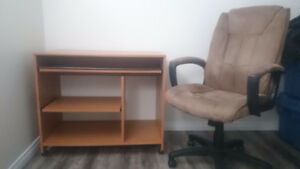 Small Computer Desk and Microfiber Chair