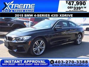2015 BMW 435I XDRIVE $0 DOWN $339 b/w APPLY NOW DRIVE NOW