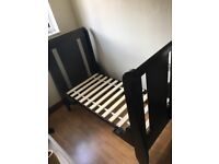 Dark brown wood cot bed, hardly used, with mattress