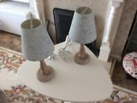 Pair of timber table lamps with pale green shades in decorative style