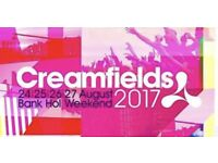 Creamfields standard 4day camping ticket!