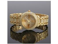 Beautiful Ladies Zeiger Full Crystal Gold Watch + Presentation Box - Brand New & Sealed.
