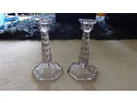 Pair of Art Deco Clear Glass Twist Candlesticks - 19cm High