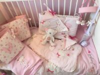 Girls Nursery cot bedding set etc from next Chloe cat collection