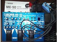 Boss ME 50 Multi FX Pedal + power, manual & bank switch