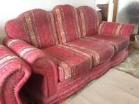 4 peace suite Good solid quality - settee/sofa, 2 chairs and pouffe/foot stool
