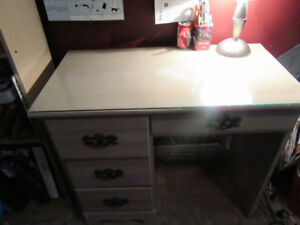 Wooden student desk with glass top**