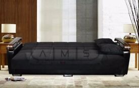 *7-DAYS MONEY BACK GUARANTEE* MADE IN TURKEY 3 SEATER FABRIC STORAGE SOFA BED WITH LEATHER WOOD ARMS