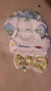 Rewashable diapers and sprayer