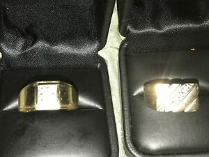 2 beautiful rings 10 k with diamond chips