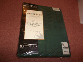 One pair fully lined curtains . Width 44inches x Length 48inches / Forest Green Pencil pleat