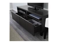 IKEA BESTA TV / Media Unit 2 Drawers / 2 Shelves in Black-Brown. Good Condition