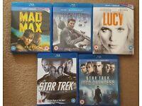 5 Blurays - 2 x Star Trek, Mad Max, Lucy, Oblivion