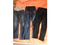 Maternity jeans x2 and maternity jeggings