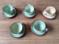 5 x Denby Juice teacups and saucers