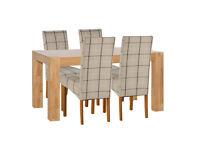 Heart of House Alston Oak Veneer Table & 4 Chairs - Check