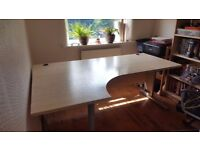 Curved L-shape office desk and drawers, 180cm x 140cm