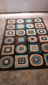 Brown and Teal Area Rug