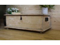 Antique solid stripped old pine chest, trunk, storage box