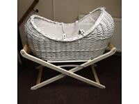 White Moses Basket with White Stand