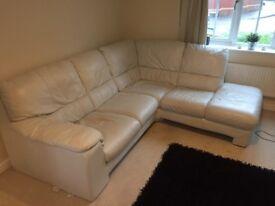 Grey leather corner sofa - Very good condition