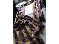 2 Pairs of Zoffany Purple and Gold Stripe Silk Curtains with Large Motif and Silk Roman Blind