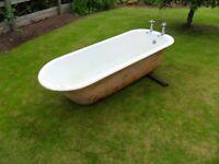 FREESTANDING ROLL TOP CAST IRON BATH WITH ORIGINAL TAPS