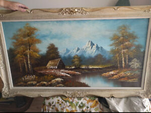 Large landscape oil painting by T.Williams