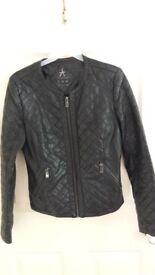 Ladies/girls faux black leather jacket