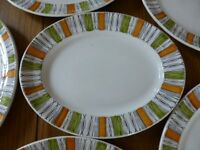 6 Retro Kathie Winkle Viscount Oval Dinner Plates