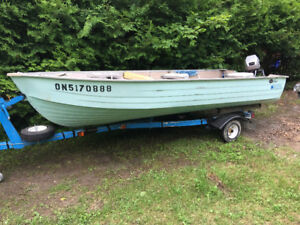 Mirrocraft 14ft aluminum boat Mariner 15hp OB and trailer